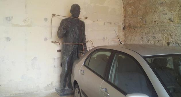 Borg Olivier Monument Hanged In Floriana Garage As Castille Square