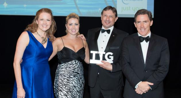(from left to right): Pippa Jacks – Editor of Travel Trade Gazette, Polly Poulton from Travelsphere & Just You Holidays (sponsor), Peter Vella – MTA Director UK and Ireland, and Rob Brydon – comedian and host.