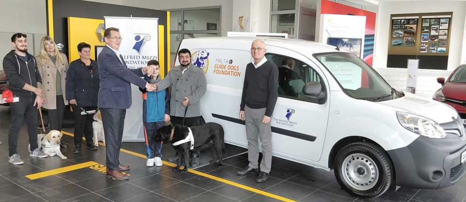 Julian Sammut, Trustee of The Alfred Mizzi Foundation, hands over the keys of the brand new Renault Kangoo van to MGDF chairman Leone Sciberras and Samuel Farrugia. Looking on are (from left) Luca Taliana, Jane Mizzi, Rita Criminale and Chris Briffa