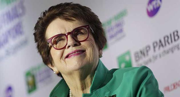 Billie Jean King, founder of the Women's Tennis Association (WTA) and former World No. 1 professional tennis player, listens to questions at an event organized by the WTA to launch the last edition of the WTA Finals in Singapore, before it moves to Shenzhen in 2019, as well as to commemorate International Women's Day on Thursday, March 8, 2018, in Singapore. (AP Photo/Wong Maye-E)