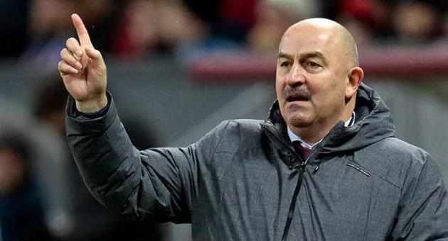 In this Saturday, Nov. 11, 2017 file photo Russia's coach Stanislav Cherchesov gives directions to his players during their international friendly soccer match between Russia and Argentina at Luzhniki stadium in Moscow, Russia. Cherchesov has a reputation as a difficult coach to get along with, and Russian media have regularly reported fallings-out with various players. (AP Photo/Ivan Sekretarev, file)