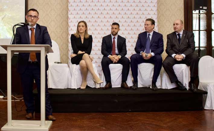 Virtual Currency panel moderated by Omar Cascun Head of Fund Administration Apex Malta.  Lucienne Pace Ross, Partner, PWC Malta; Elton Dimech Sparkasse Bank;  Sean Fitzgerald CEO, AK Jensen Investment Management and Nicholas Warren, Chetcuti Cauchi