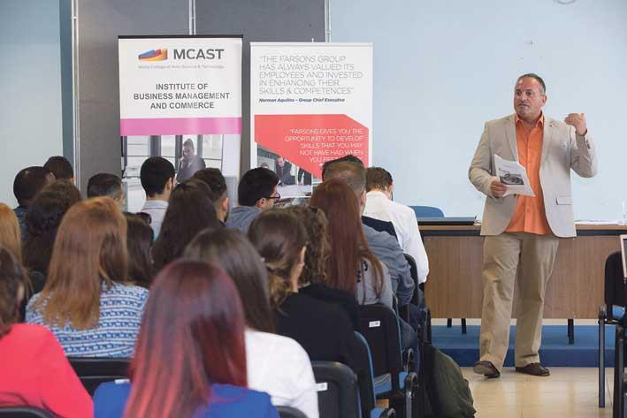 Course lecturer, Thomas J. Dimech, delivering his talk during a co-lecturing seminar held for first-year students on the BA Business Enterprise course within the Institute of Business Management and Commerce at MCAST
