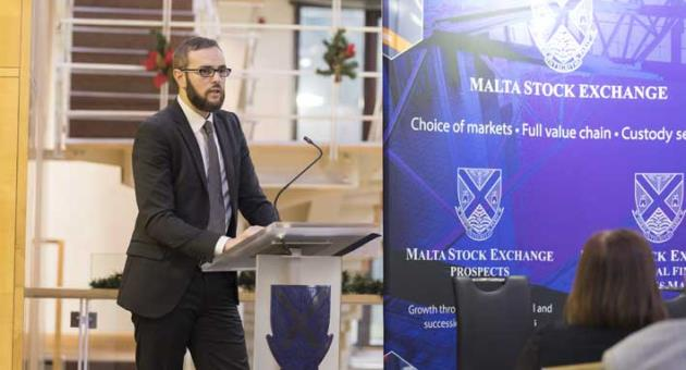 Jordan Portelli, Investment Manager at Calamatta Cuschieri, delivering his presentation at the MSE Educational Seminar