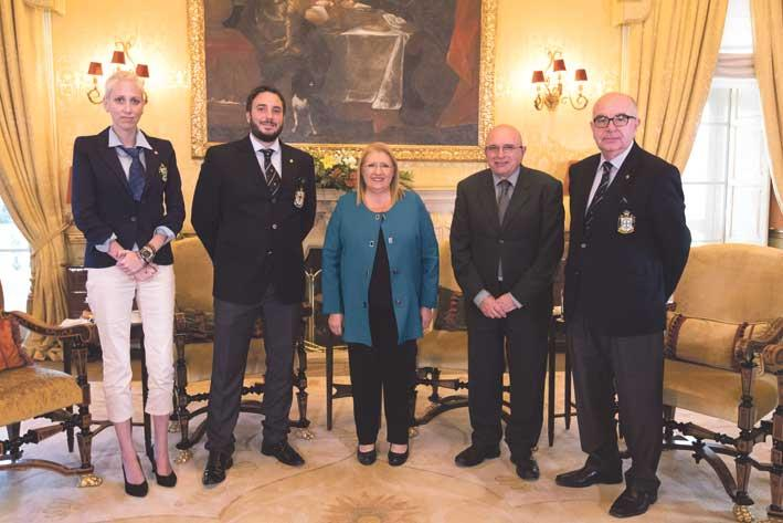 H.E. Chev Francisco de Borbón Graf von Hardenberg and H.E. Marie-Louise Coleiro Preca with Dame Patricia Pedrazas Freeman, the Secretary to the President Mr Carmel Briffa and Chev Carmel Bonello